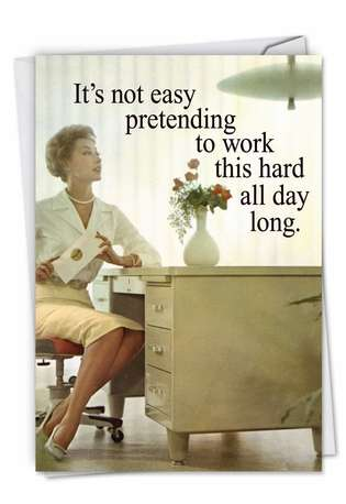 Hilarious Administrative Professionals Day Printed Greeting Card by Ephemera from NobleWorksCards.com - Old School Secretary