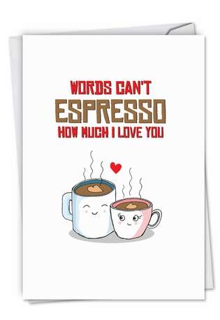 Creative Birthday Paper Card from NobleWorksCards.com - Yummy Puns-Espresso