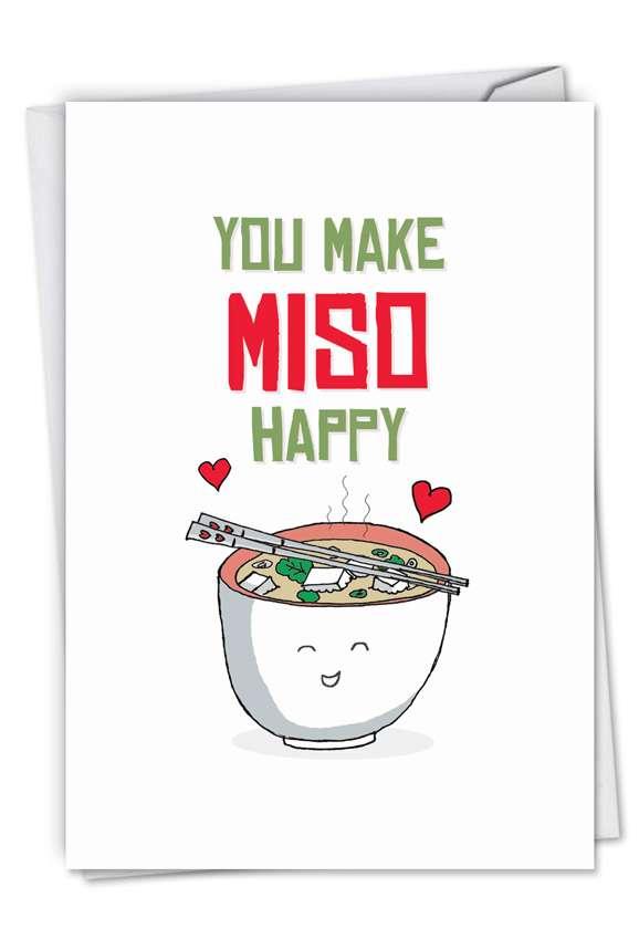 Stylish Birthday Greeting Card from NobleWorksCards.com - Yummy Puns-Miso