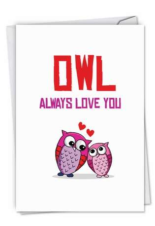 Stylish Birthday Paper Greeting Card from NobleWorksCards.com - Owl Love