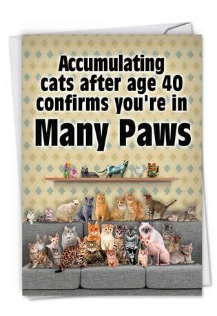 Funny Birthday Paper Card from NobleWorksCards.com - Many Paws
