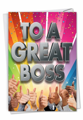 Hysterical Boss Thank You Printed Greeting Card From NobleWorksCards.com - Great Boss