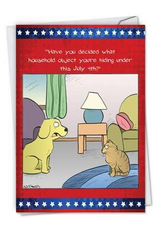 Hysterical Independence Day Printed Card by Nate Fakes from NobleWorksCards.com - July 4th Pets