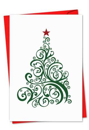 Stylish Christmas Printed Greeting Card from NobleWorksCards.com - Just Fir You