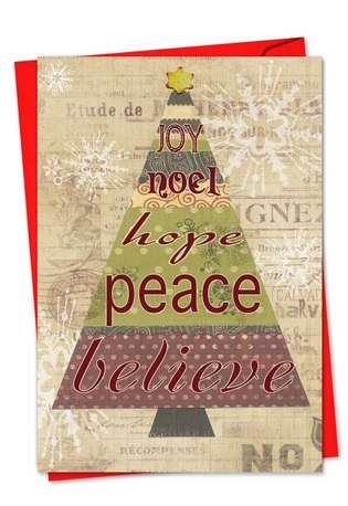 Stylish Christmas Greeting Card by Carol Robinson from NobleWorksCards.com - Tree-Angles