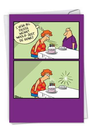 Hilarious Birthday Printed Greeting Card by Bill Whitehead from NobleWorksCards.com - Excess Weight
