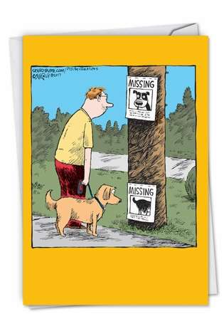 Funny Miss You Printed Card by Dave Coverly from NobleWorksCards.com - Missing Signs