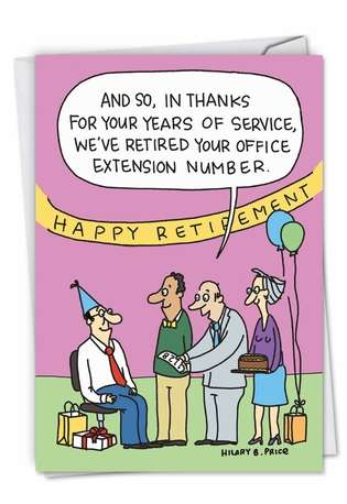 Hilarious Retirement Printed Card by Hilary Price from NobleWorksCards.com - Retired Number