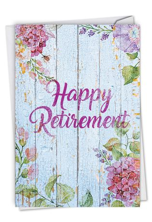 Stylish Retirement Card From NobleWorksCards.com - Blooming Driftwood - Retiree