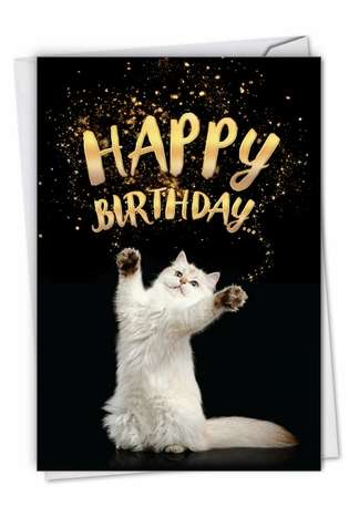 Stylish Birthday Pet Paper Card By NobleWorks Inc From NobleWorksCards.com - Cat-Sent Greetings