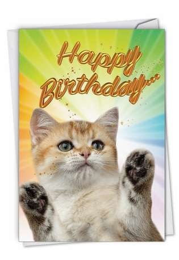 Cat-Sent Greetings: Stylish Birthday Paper Greeting Card