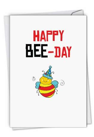 Stylish Birthday Paper Card By NobleWorks Inc From NobleWorksCards.com - Birthday Puns-Bee