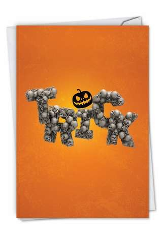 Stylish Halloween Paper Card From NobleWorksCards.com - Spooky Words-Trick
