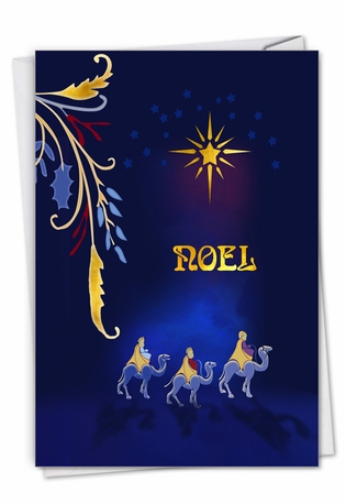 Stylish Merry Christmas Paper Greeting Card From NobleWorksCards.com - Nouveau Noel - Wiseman