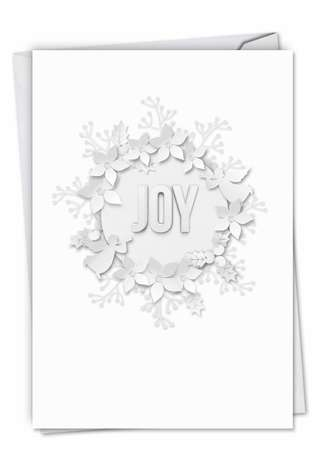 Creative Christmas Thank You Printed Card From NobleWorksCards.com - Winter White on White-Joy