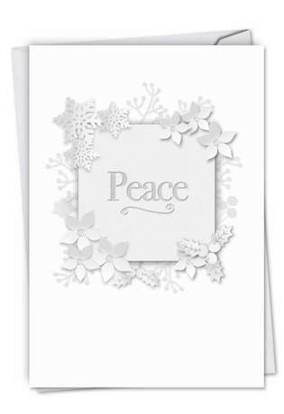 Winter White on White-Peace: Creative Seasons Greetings Printed Greeting Card