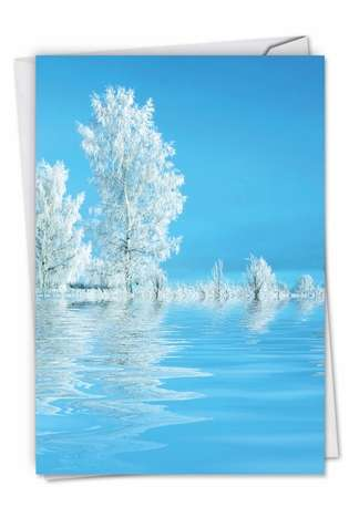 Creative Seasons Greetings Printed Card From NobleWorksCards.com - Tree-flections