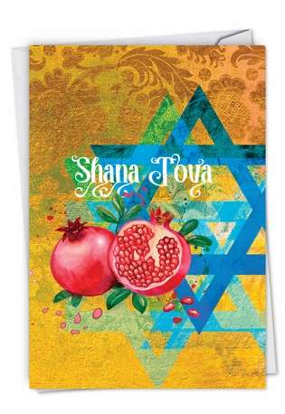 Creative Rosh Hashanah Printed Greeting Card By Batya Sagy From NobleWorksCards.com - Shana Tova Greetings-Star and Pomegranates