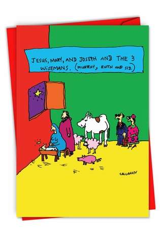 Humorous Merry Christmas Paper Card By John Callahan From NobleWorksCards.com - John Callahan's The 3 Wisemans