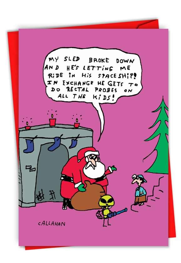 Humorous Merry Christmas Card By John Callahan From NobleWorksCards.com - John Callahan's Santa and Alien Exchange