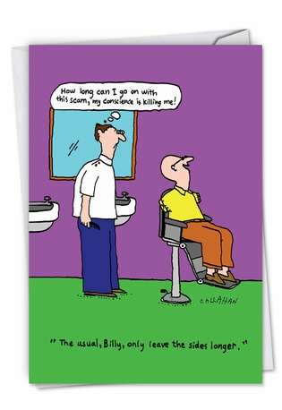 Funny Birthday Paper Greeting Card By John Callahan From NobleWorksCards.com - John Callahan's Conscientious Barber