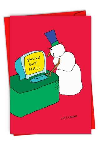 Humorous Merry Christmas Paper Greeting Card By John Callahan From NobleWorksCards.com - John Callahan's You've Got Hail