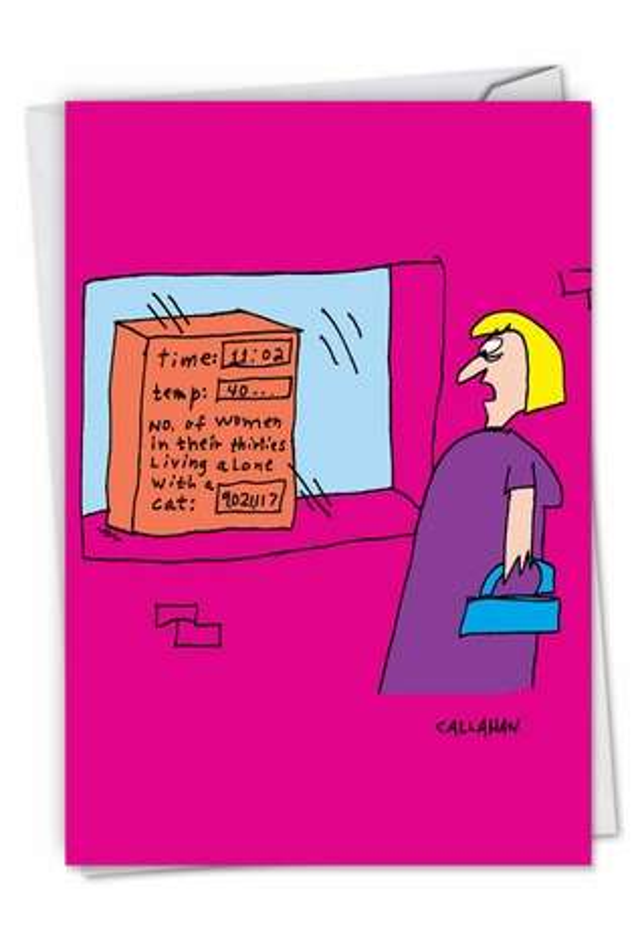 Hilarious Birthday Printed Card By John Callahan From NobleWorksCards.com - John Callahan's Lonely Women Counter