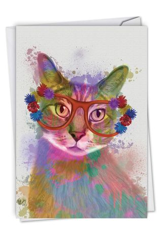 Creative Birthday Greeting Card By World Art Group From NobleWorksCards.com - Funky Rainbow Cats - Cool Cat