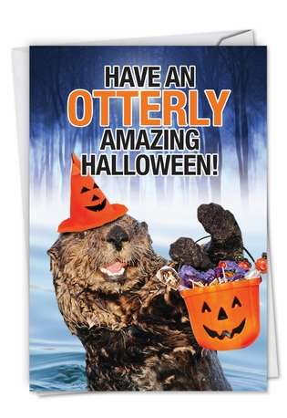 Humorous Halloween Card From NobleWorksCards.com - Otterly Amazing Halloween