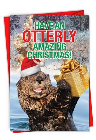 Hysterical Merry Christmas Greeting Card From NobleWorksCards.com - Otterly Amazing Christmas