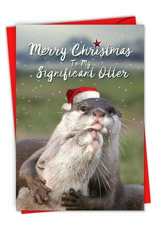 Hilarious Merry Christmas Printed Card From NobleWorksCards.com - Significant Otter Christmas