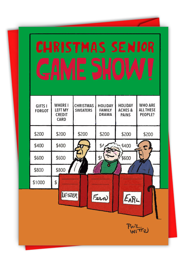 Hysterical Merry Christmas Printed Greeting Card By Phil Witte From NobleWorksCards.com - Christmas Senior Jeopardy
