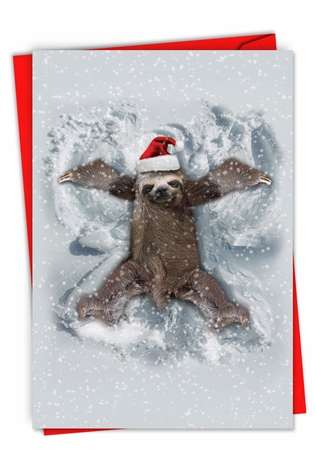 Hilarious Merry Christmas Greeting Card From NobleWorksCards.com - Sloth Angel