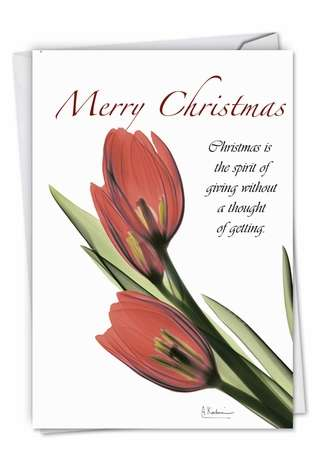 Stylish Christmas Thank You Paper Greeting Card By Albert Koetsier From NobleWorksCards.com - Blooming Christmas Spirit-Tulips