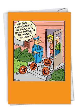 Humorous Halloween Paper Greeting Card By Bill Whitehead From NobleWorksCards.com - Smashed Pumpkins