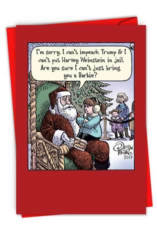 Hysterical Merry Christmas Printed Greeting Card By Dan Piraro From NobleWorksCards.com - Can't Impeach Trump