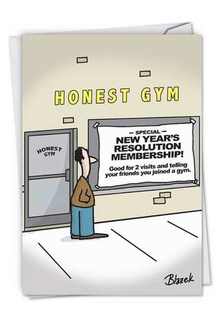 Hysterical New Year Printed Card By Dave Blazek From NobleWorksCards.com - Honest Gym
