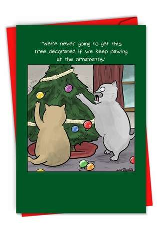 Humorous Merry Christmas Paper Card By Nate Fakes From NobleWorksCards.com - Cats Decorating Tree
