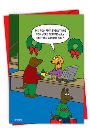 Humorous Merry Christmas Paper Card By Scott Metzger From NobleWorksCards.com - Dog Shopping
