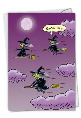 Funny Halloween Paper Greeting Card By Stanley Makowski From NobleWorksCards.com - Surfing Witch