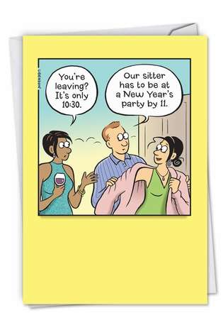 Humorous New Year Card By Terri Libenson From NobleWorksCards.com - Babysitter Schedule