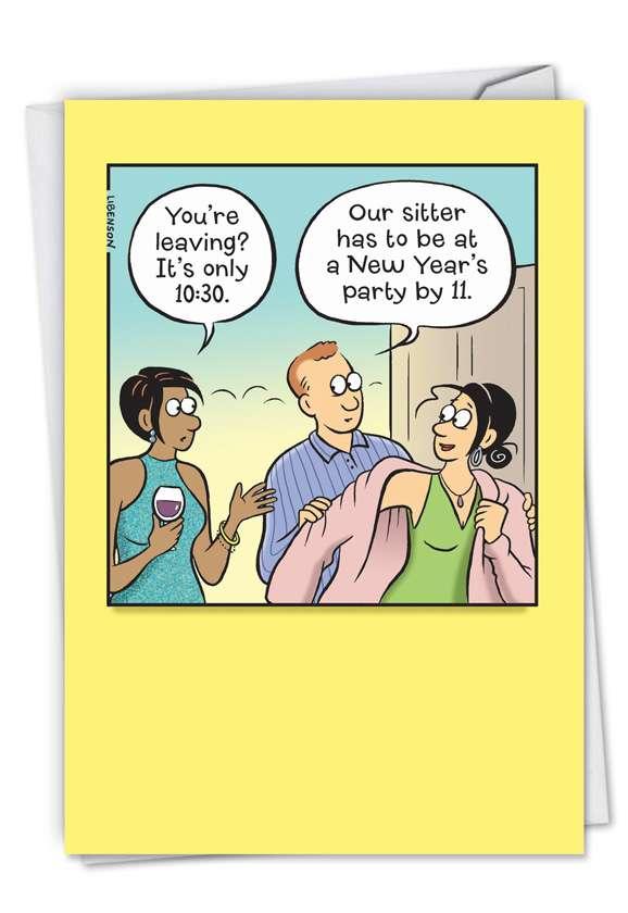 Babysitter Schedule: Humorous New Year Card