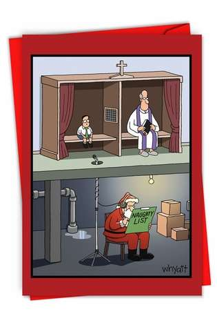 Funny Merry Christmas Paper Card By Tim Whyatt From NobleWorksCards.com - Santa Confessional