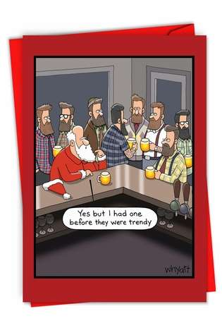 Humorous Merry Christmas Paper Greeting Card By Tim Whyatt From NobleWorksCards.com - Christmas Hipsters
