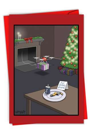 Humorous Merry Christmas Paper Card By Tim Whyatt From NobleWorksCards.com - Santa's Drone