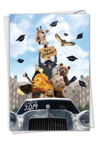 Stylish Graduation Paper Greeting Card From NobleWorksCards.com - Going Wild - 2019