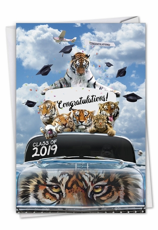 Creative Graduation Printed Card From NobleWorksCards.com - Tigers Mascot - 2019