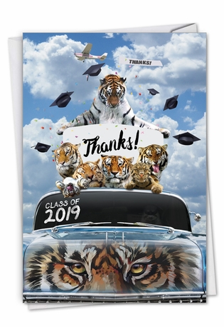 Stylish Graduation Thank You Paper Greeting Card From NobleWorksCards.com - Tigers Mascot - 2019