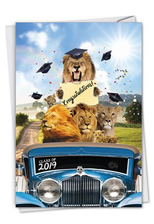 Stylish Graduation Card From NobleWorksCards.com - Lion Mascots - 2019