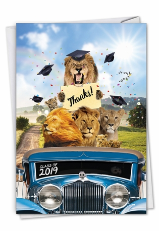 Creative Graduation Thank You Printed Greeting Card From NobleWorksCards.com - Lion Mascots - 2019